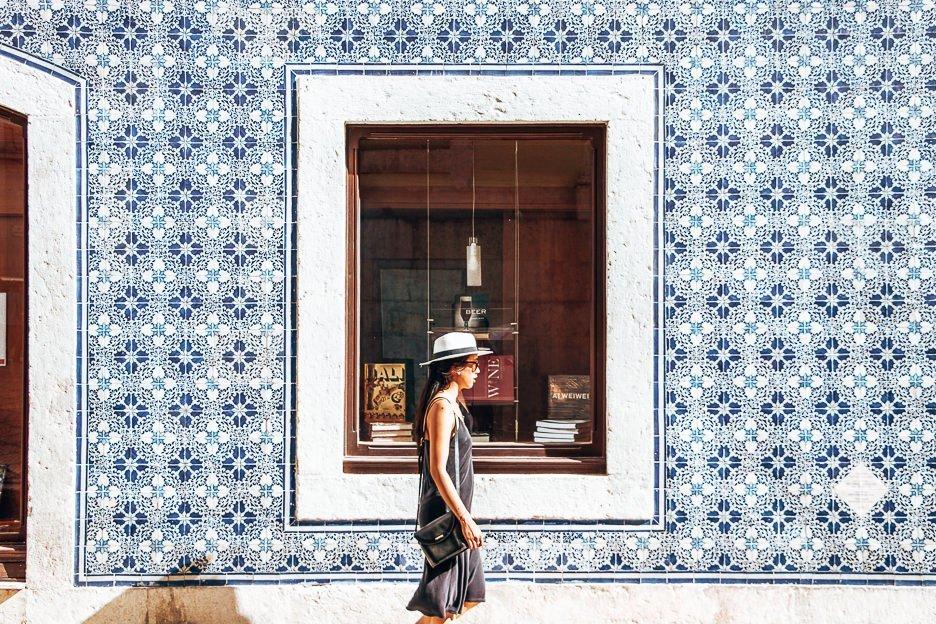 Strolling past beautiful blue Portuguese tiles, Lisbon