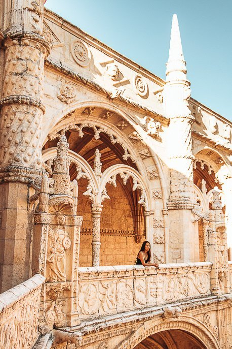 Jasmine exploring Jerónimos Monastery in Belem, Lisbon, Portugal