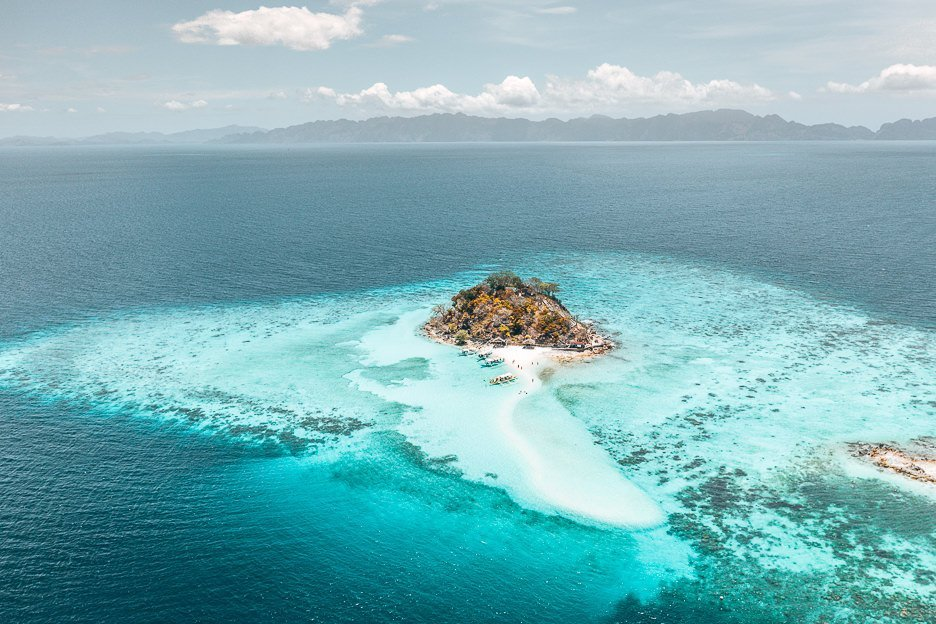 Aerial view of Bulog Dos Island during the Ultimate Escapades Tour in Coron, The Philippines
