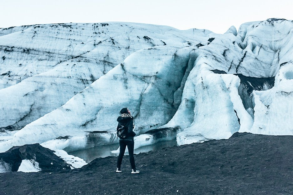 Jasmine checks out Solheimajokull Glacier in Iceland