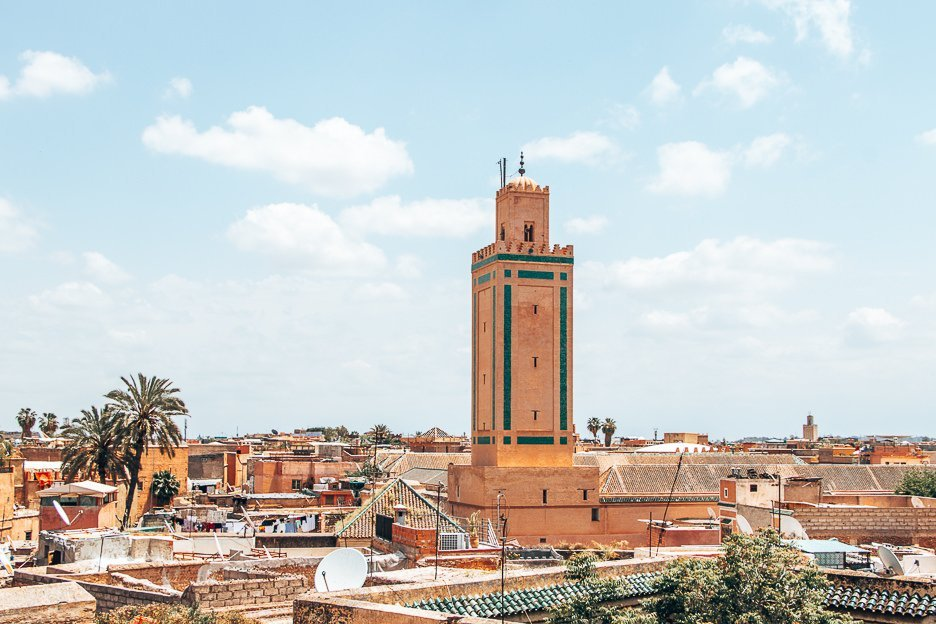 Rooftop view of Marrakech from Atay Cafe Restaurant Morocco