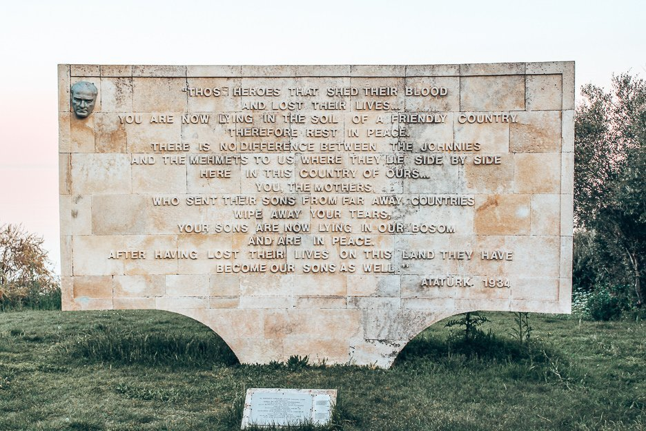 Words spoken by Ataturk inscribed in memorium at Gallipoli, Turkey