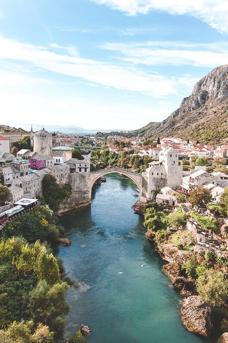 A view of the Stari Most from the minaret at Koski Mehmed Pasha Mosque, Mostar, Bosnia & Herzegovina
