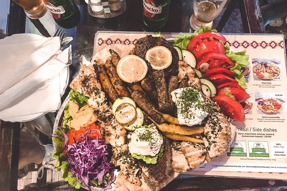 The mezze platter for two at Tima-Imra, Mostar, Bosnia and Herzegovina
