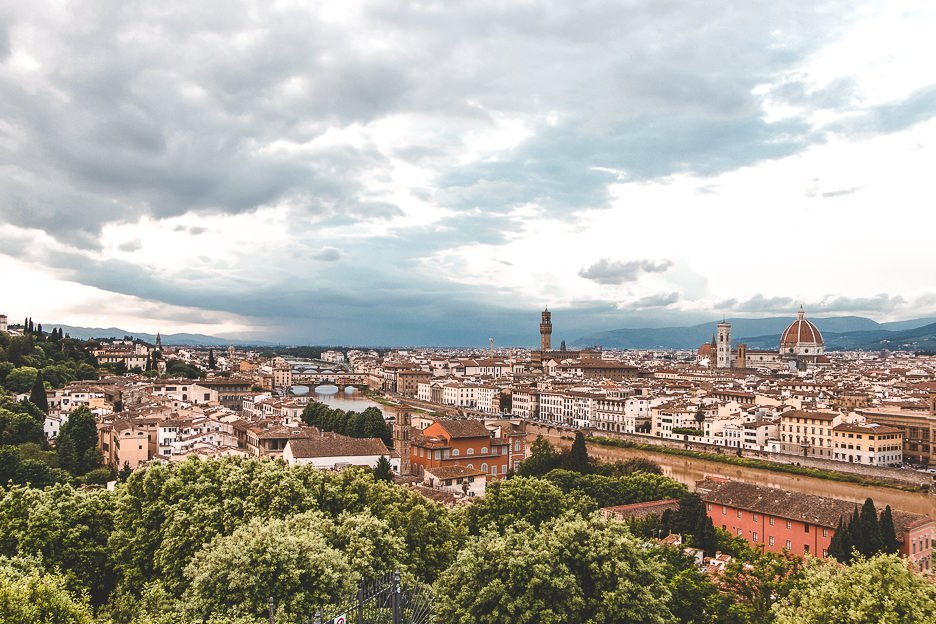 Moody skies over the city from Piazzale Michelangelo, Florence