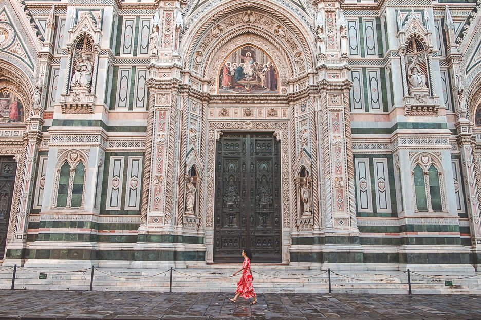 Striding by in front of the Cathedral of Santa Maria del Fiore, Florence