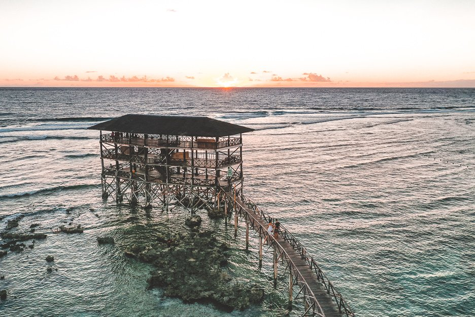 Sunrise over the horizon from Cloud 9 boardwalk, Siargao