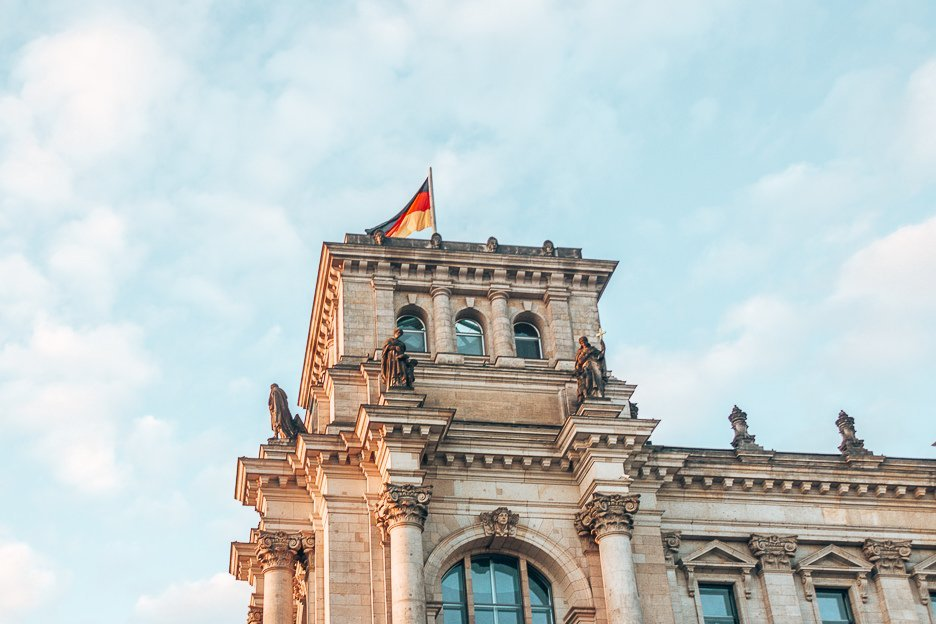 German flag atop the Reichstag Building, Berlin