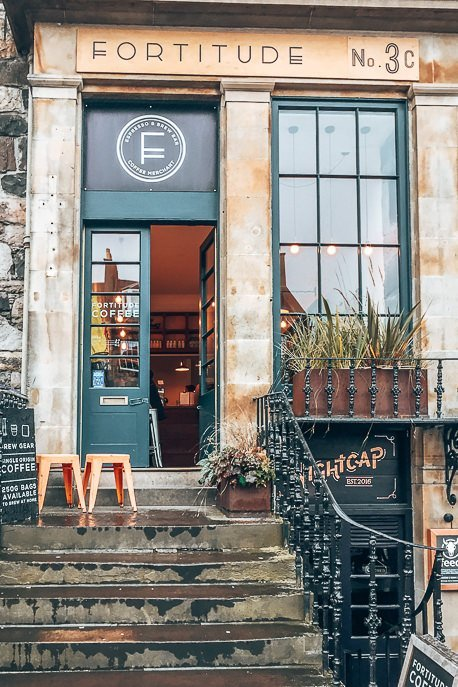 Entrance to Fortitude Coffee, Edinburgh Scotland