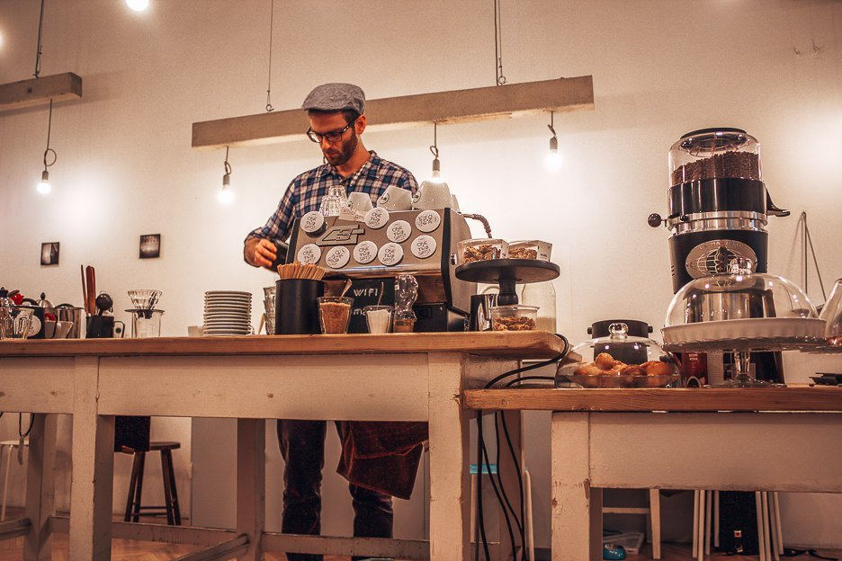 Barista working at Fekete Coffee, Coffee in Budapest