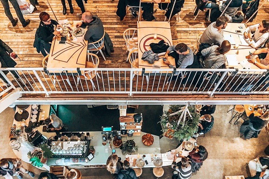 Split level dining at Coffee and Coconuts, Amsterdam