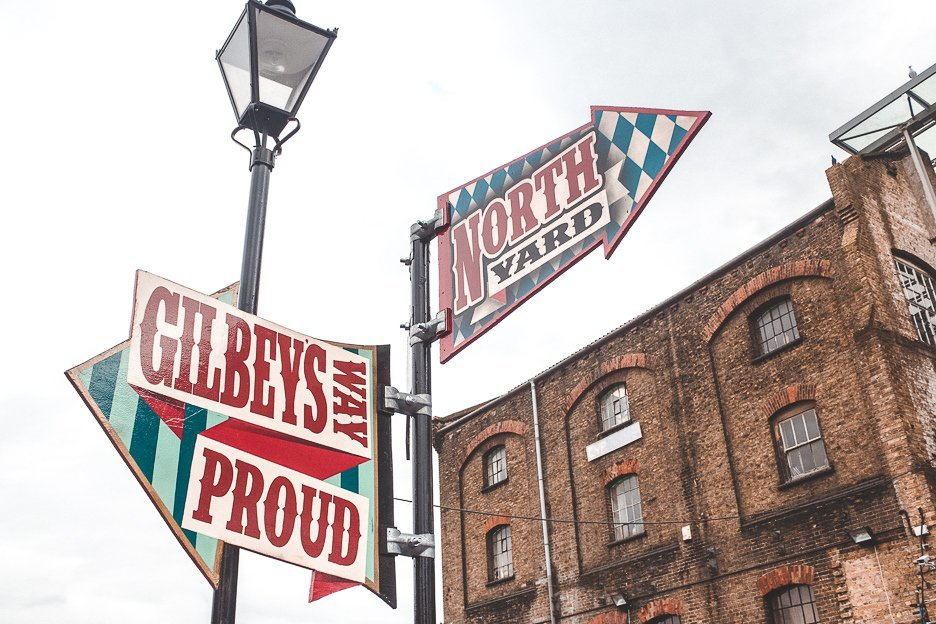 Vintage signs at Camden Market in north London