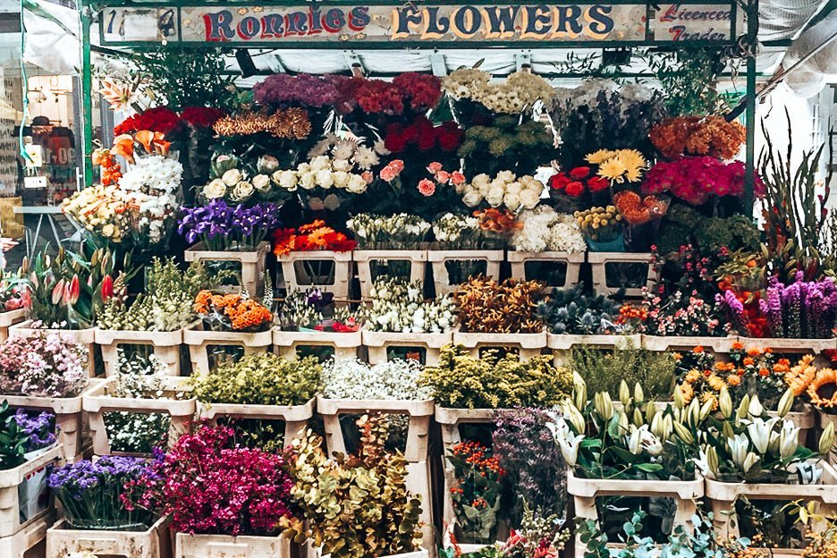 Flower stall at Berwick Street Market in Soho, London Market Guide