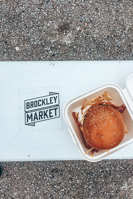 Burger and shoestring fries at Brockley Market, London Market Guide
