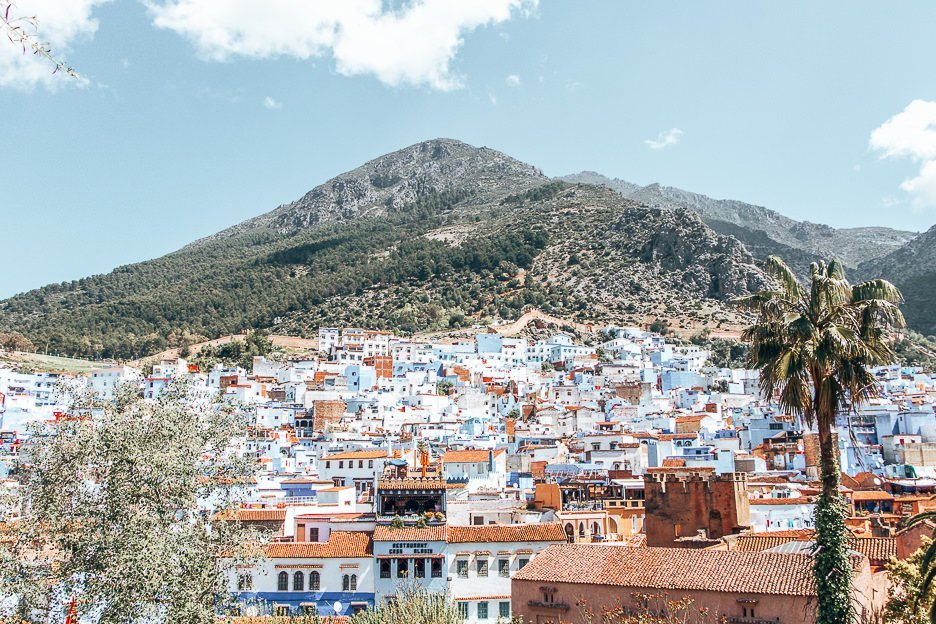 A view of Chefchaouen Morocco with the Rif Mountains in the background