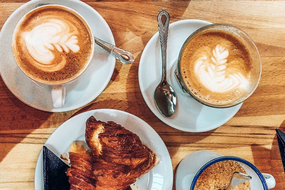 Coffees and croissants at Federation Coffee, Brixton