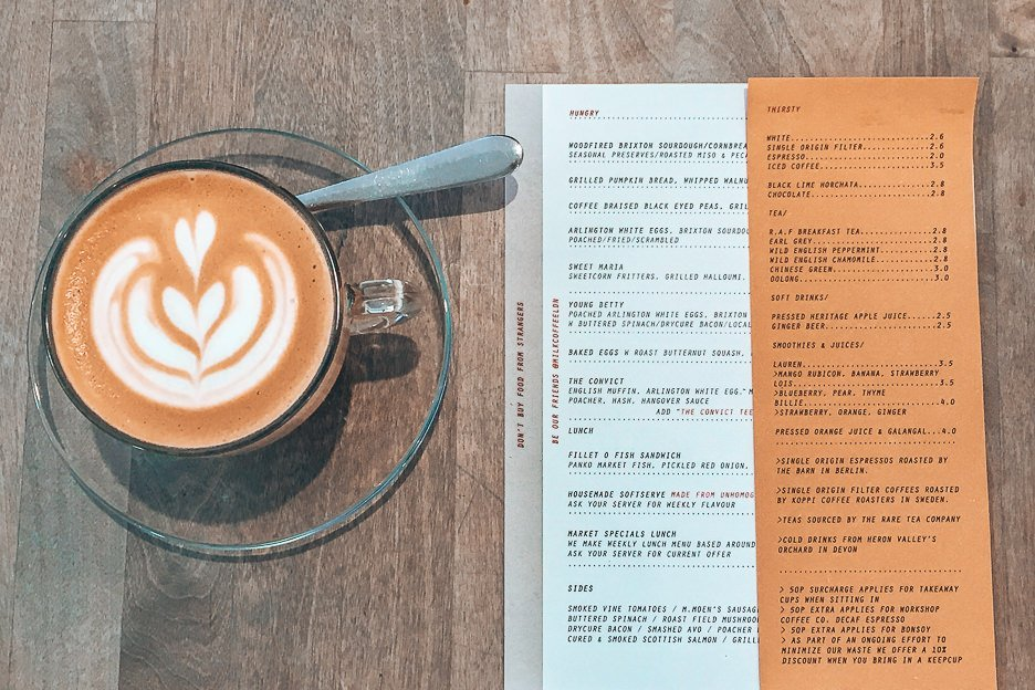 Latte and menu at Milk, Balham - Coffee in London