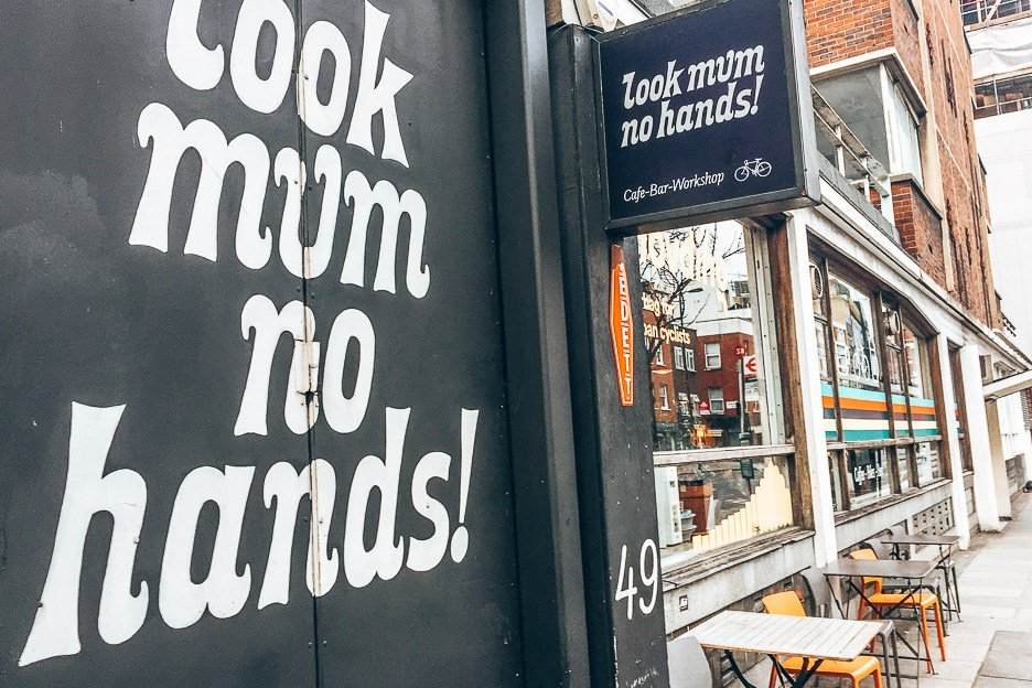 Signage outside Look mum no hands