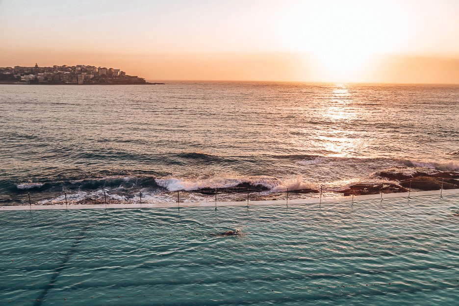 Sunrise over Bondi Icebergs swimming pool, Bondi Beach, New South Wales, Australia