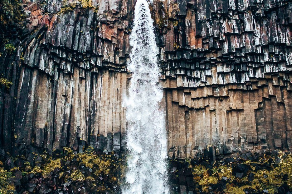 Water gushing down Svartifoss waterfall, Iceland Gallery