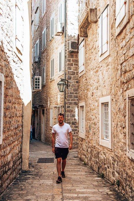 Walking through Budva, Montenegro