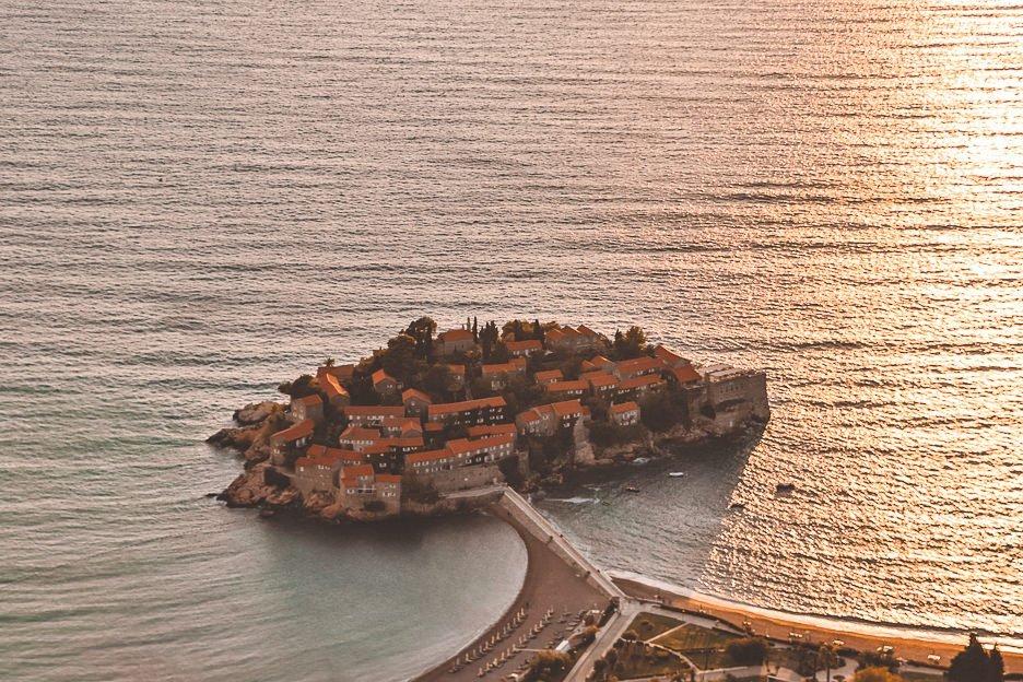 View over Sveti Stefan, Montenegro