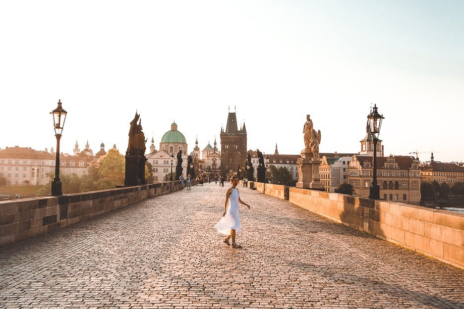 Jasmine twirling on the Charles Bridge in the early morning