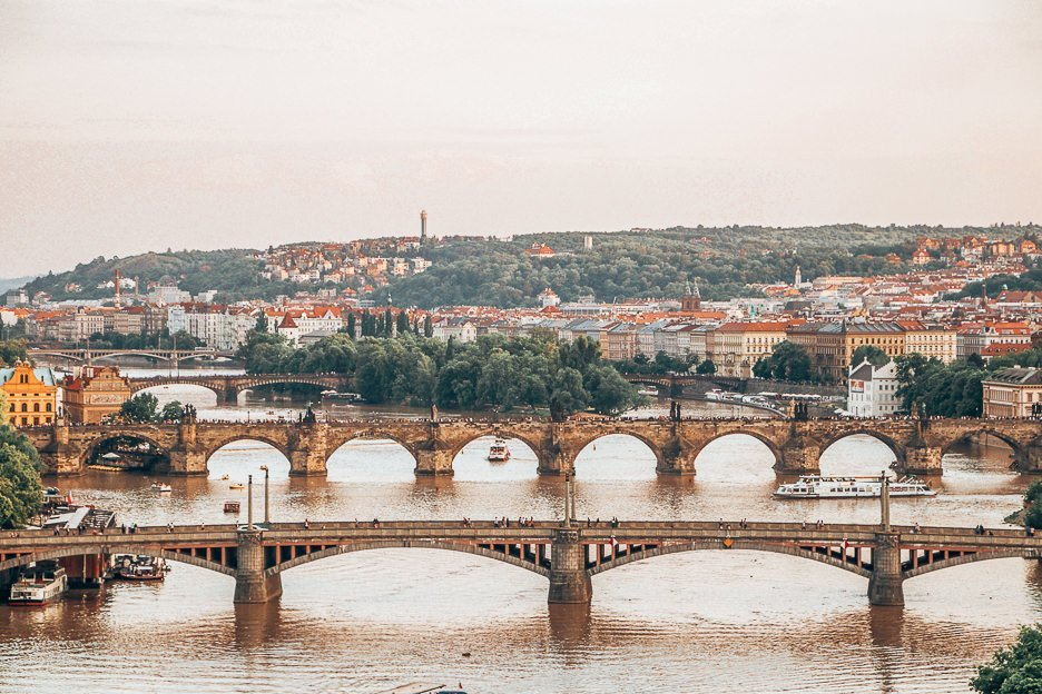 View over Prague at sunset, Czech Republic