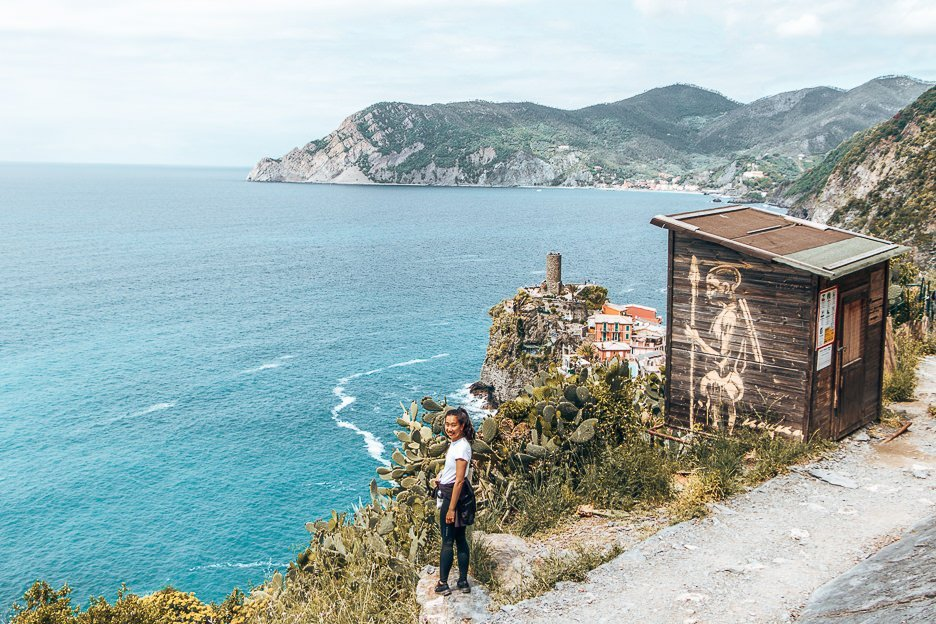 Finishing a Cinque Terre hike, Italy