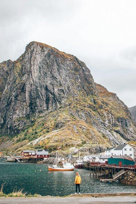 Standing at the harbour edge in Hamnoy - Lofoten Islands, Norway