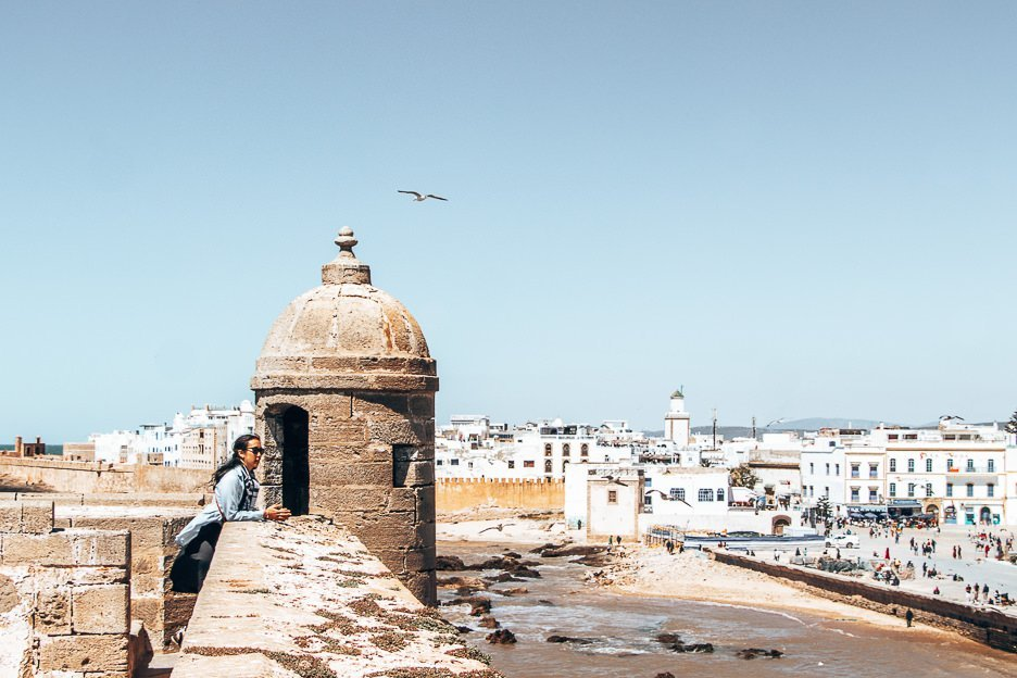 Overlooking the ramparts of Skala du Port Essaouira Morocco