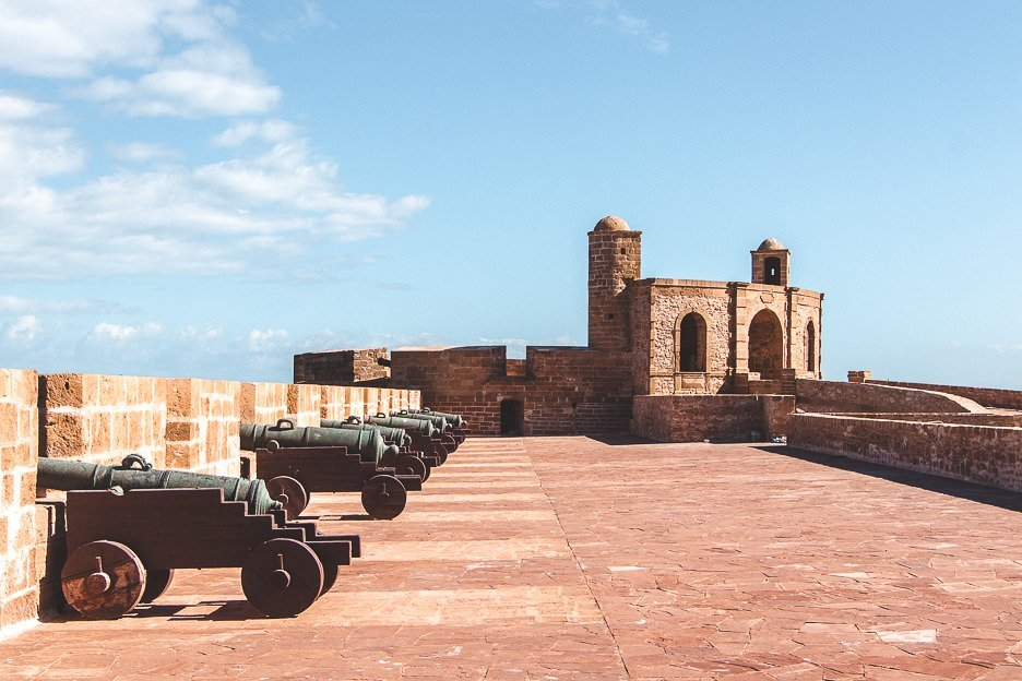 Bronze canons along the old city walls of Essaouira Morocco