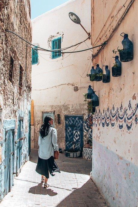 Jasmine wandering streets of medina Essaouira Morocco