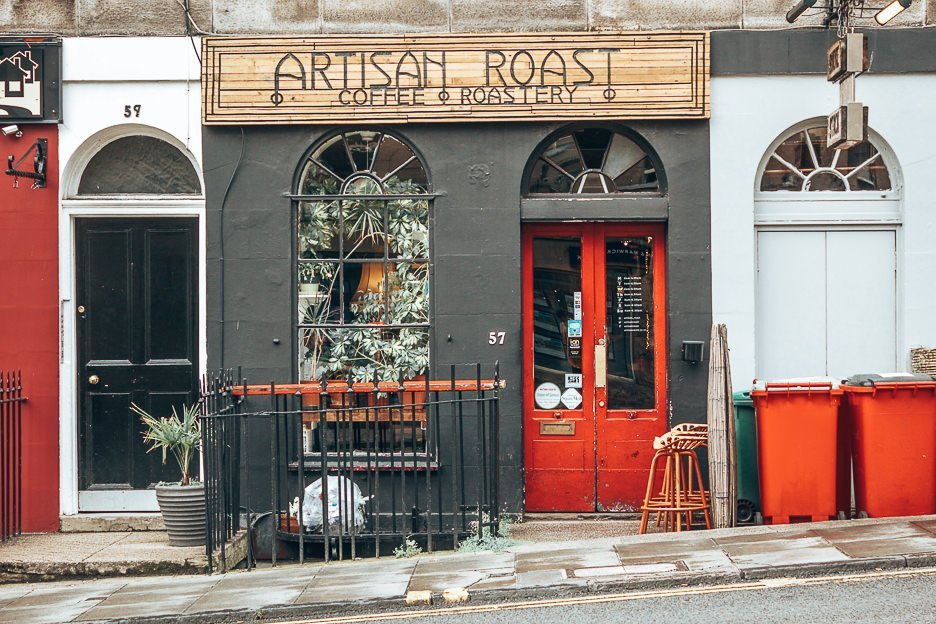 Entrance to Artisan Roast, Coffee in Edinburgh, Scotland