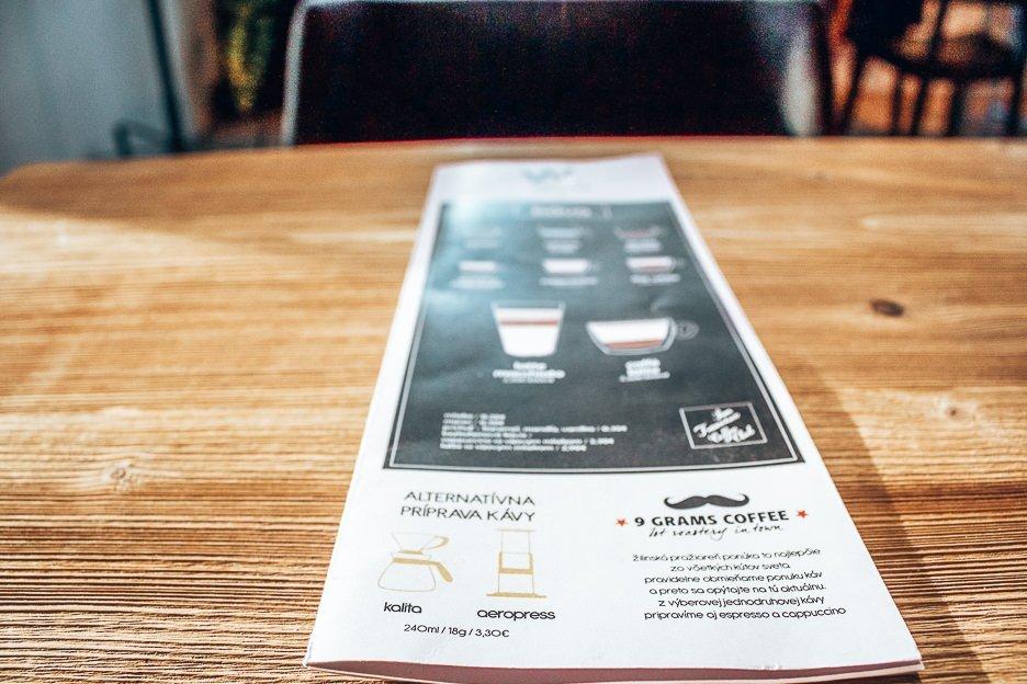 Coffee menu at WCAFE, Bratislava, Slovakia
