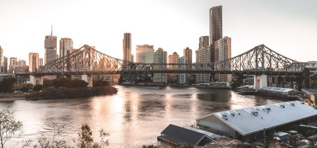 A sunset view of Brisbane City from Wilson Outlook Reserve