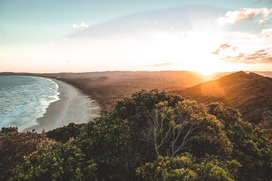 Sunset view over Tallows Beach in Byron Bay