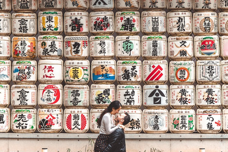 Couple at sake barrels at Meiji Shrine, Tokyo
