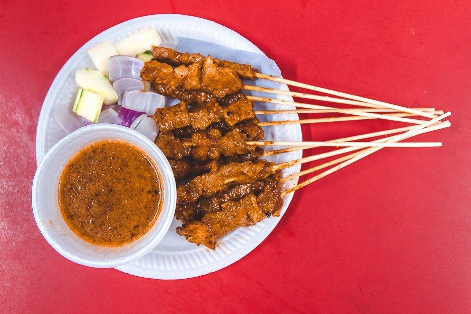 Pork Satay at 168 CMY Satay, Singapore hawker dish, Singapore food culture