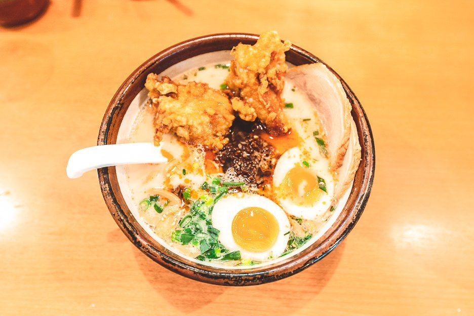 Bowl of hot ramen with fried chicken | Japanese food culture