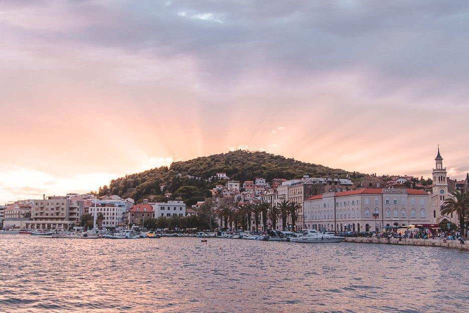 Sunset view from Riva over Marjan Hill, Split