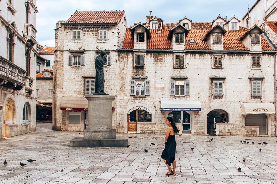The town square at sunrise in Split, Croatia