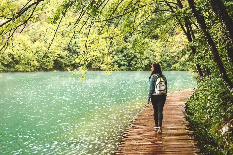 Walking one of the boardwalks at Plitvice National Park Croatia