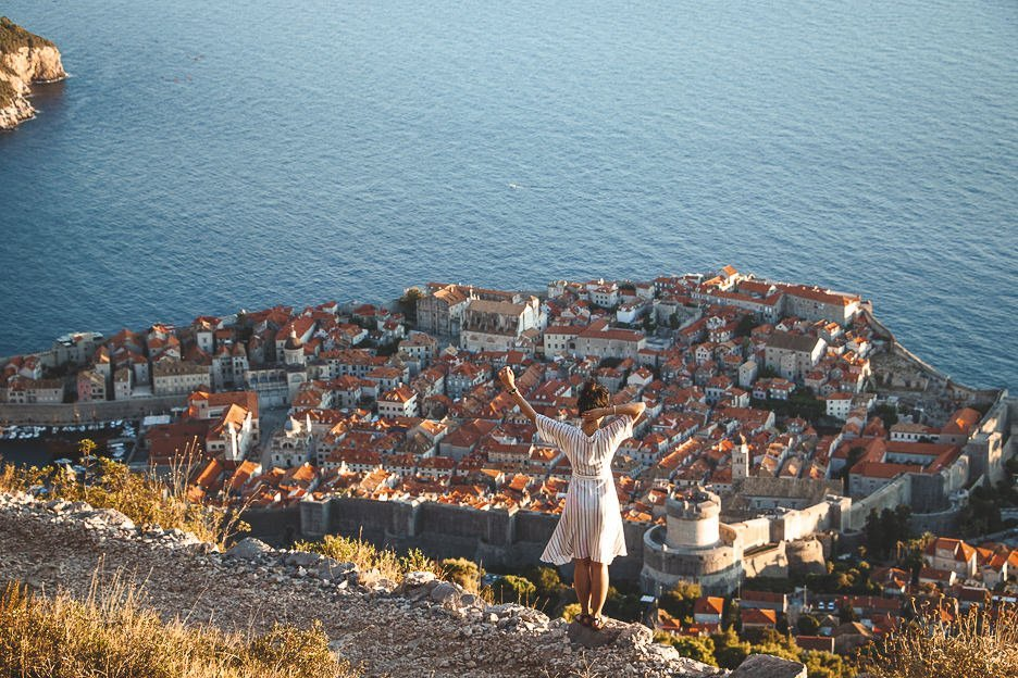 Looking out over Dubrovnik Old Town from above, Croatia