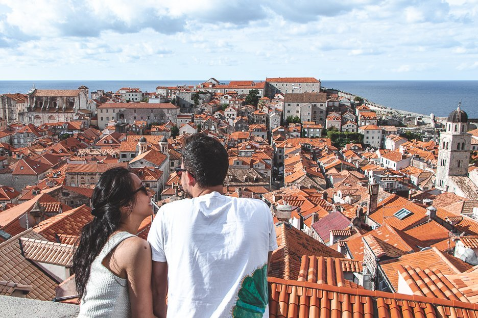 Beautiful view over red terracotta roofs of Dubrovnik Croatia