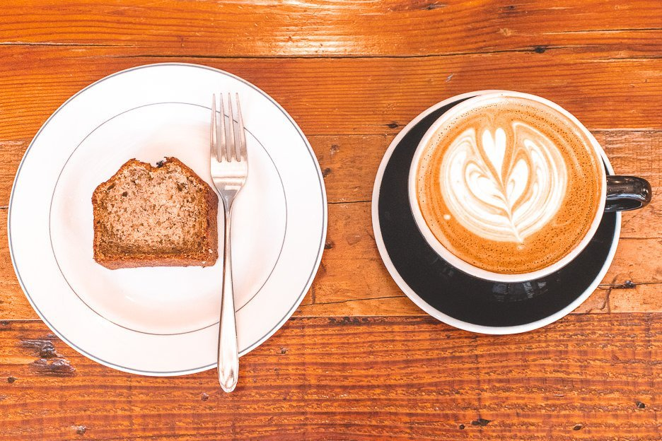 Large hot latte and banana bread at The Workers Coffee | Meguro Coffee Shop, Tokyo