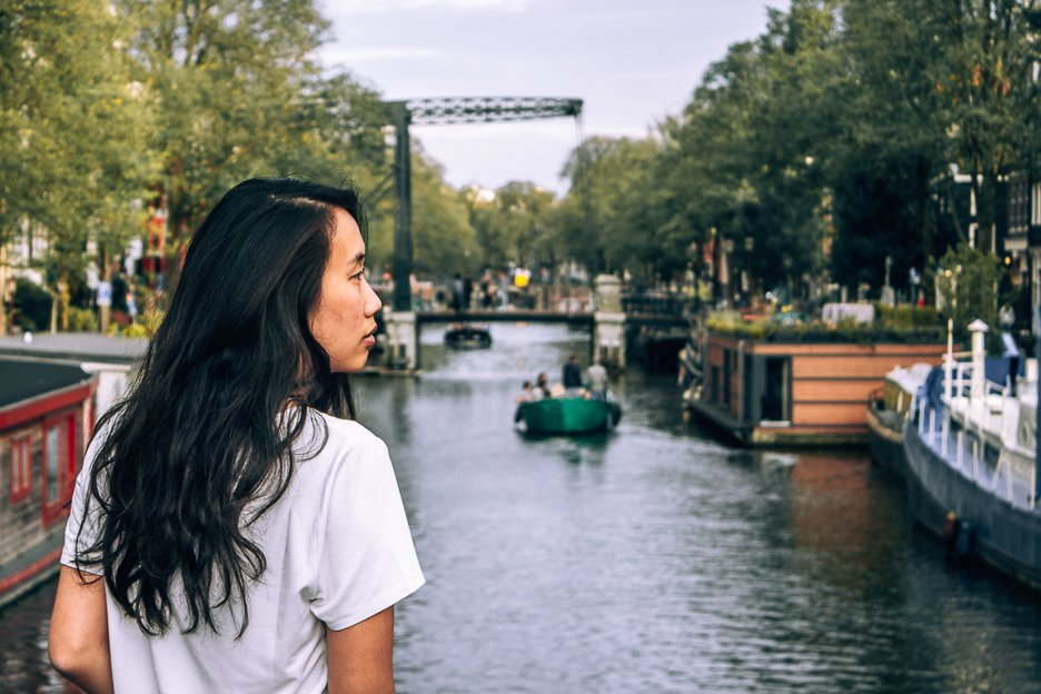 Essential things to pack for travelling - overlooking a canal in Amsterdam, the Netherlands