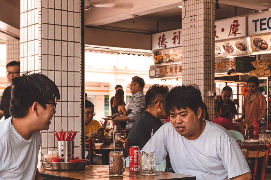 Diners waiting for food at Dunham Food Centre in Joo Chiang District | What To Eat in Singapore