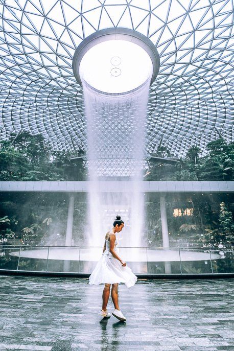 Twirling in front of the waterfall at Jewel Changi Airport