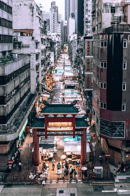 Aerial view of Temple Street Night Market - what to do in Hong Kong